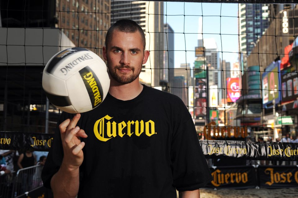 Kevin Love poses for a portrait at the Jose Cuervo beach volleyball event held in Times Square. Jose Cuervo Pro Beach Volleyb