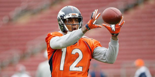 STANFORD, CA - FEBRUARY 03:  Andre Caldwell #12 of the Denver Broncos catches the ball during the Broncos practice for Super
