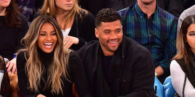 NEW YORK, NY - FEBRUARY 09:  La La Anthony, Ciara and Russell Wilson attend the Washington Wizards vs New York Knicks game at