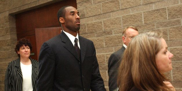 EAGLE, CO - JULY 30:  Los Angeles Lakers star Kobe Bryant (2nd-L) along with his attorney Pamela Mackey, investigator Rivka M