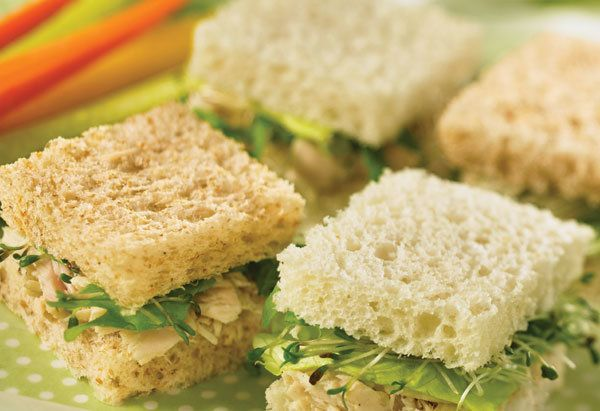Although all these sandwiches contain the same lemon-white wine vinegar tuna salad, their breads are different. Have a little