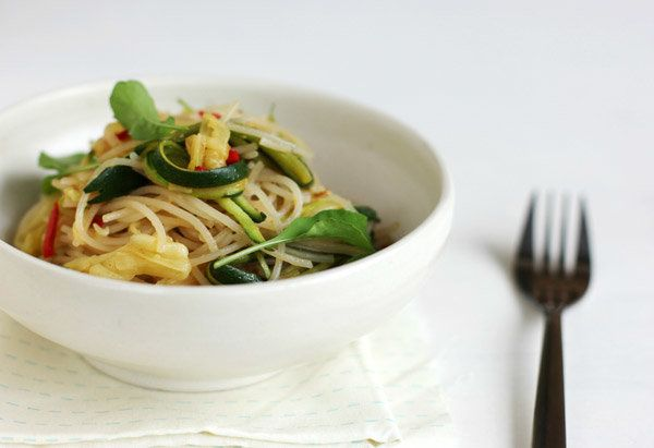No limp, soggy slices of zucchini here: For this vegetarian dish, you cut the squash into long, thin matchsticks. Since there