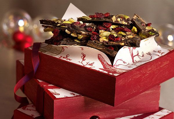 Dark chocolate, nuts, seeds and dried fruit -- all rich in antioxidants, fiber and vitamin C -- make this bark a great altern