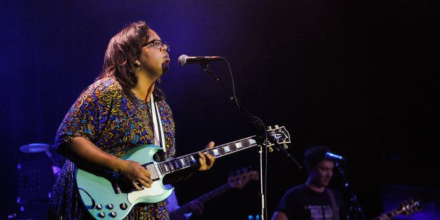 HOLLYWOOD, CA - JULY 17:  Brittany Howard (L) and Heath Fogg of Alabama Shakes perform at the Hollywood Palladium on July 17,