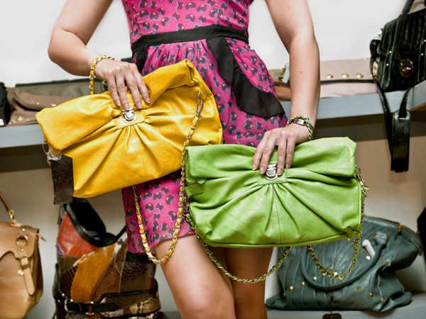 <strong>The mistake:</strong> You picked a bright faux-leather accessory. 