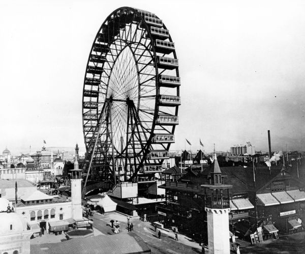 """The first Ferris wheel opens to the public at the <a href=""""http://www.chicagohs.org/history/expo.html"""" target=""""_blank"""">World'"""