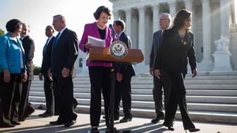 WASHINGTON, DC - SEPTEMBER 04: Senate Judiciary Committee Ranking Member Senator Dianne Feinstein (D-CA), concludes a news conference denouncing the White House's withholding of documents on Supreme Court Nominee Brett Kavanaugh outside of the U.S. Supreme Court on September 4, 2018 in Washington, DC.  Also pictured are Sen. Mazie Hirono (D-HI), Sen. Chris Coons (D-DE), Sen. Cory Booker (D-NJ), Senate Minority Whip Dick Durbin (D-IL), Sen. Richard Blumenthal (D-CT), Sen. Patrick Leahy (D-VT), and Sen. Kamala Harris (D-CA).  (Photo by Zach Gibson/Getty Images)