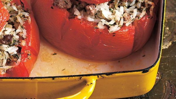 This unfussy recipe shows how easy it is to turn a handful of ingredients into a bright and tangy stuffed-tomato dish that sc