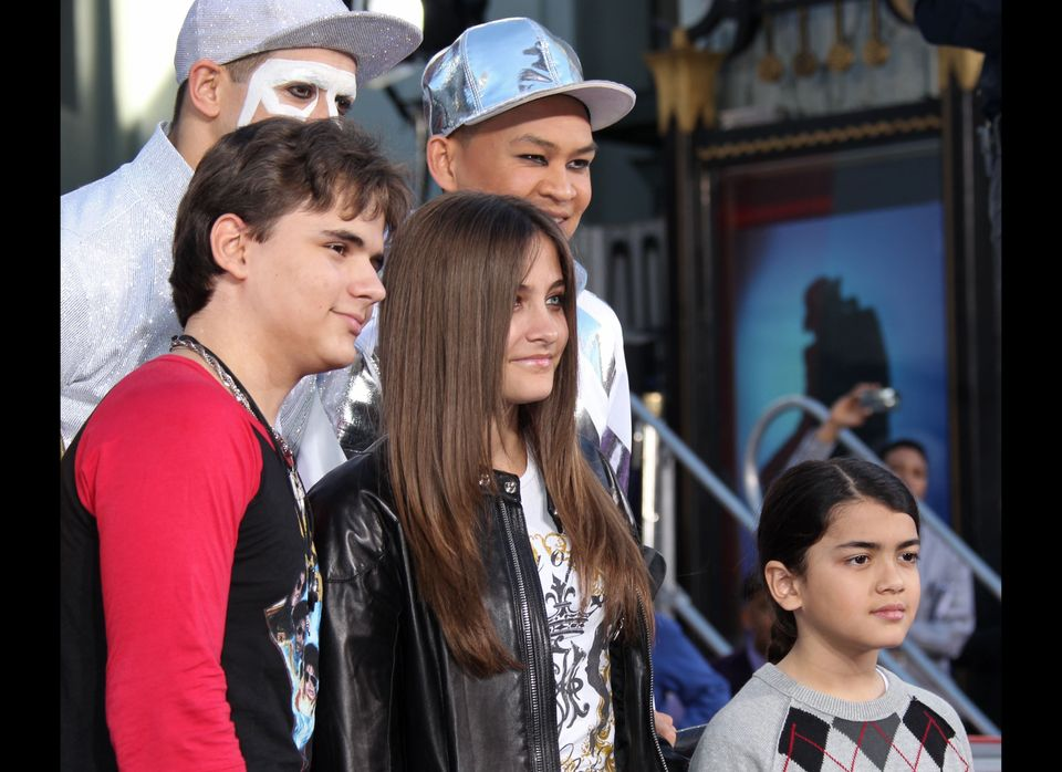 Prince Jackson, Blanket Jackson, Paris Jackson,, Michael Jackson's children imprint their father's shoes and sequined glove i
