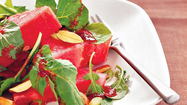 We had never considered eating watermelon at any temperature other than ice cold until we tried this untraditional salad; now
