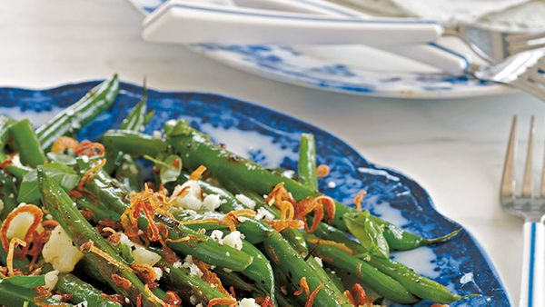 This bright and fresh-tasting side takes the best elements of a classic green-bean casserole and gives them a summer update.