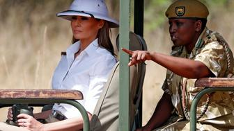 U.S. first lady Melania Trump takes a safari in Nairobi, Kenya, October 5, 2018. REUTERS/Carlo Allegri