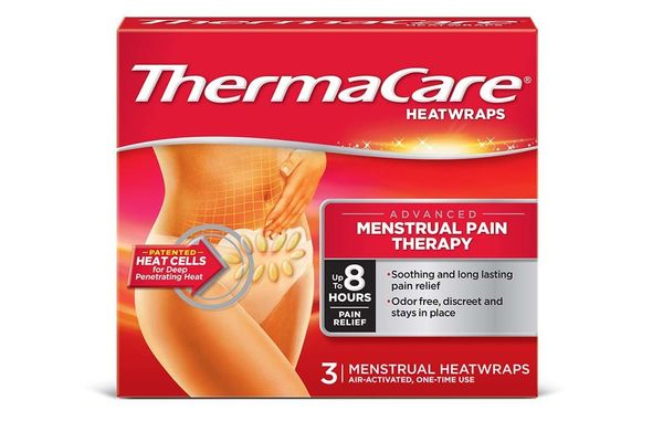 "<b>What:</b> <a href=""http://www.thermacare.com/menstrual-heatwraps"" target=""_blank"">ThermaCare Menstrual Heat Wraps</a>, $7"
