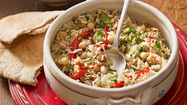 <strong>What it is:</strong> Lentils, brown rice and red peppers  <br><br> <strong>How much iron you get:</strong> One cup of