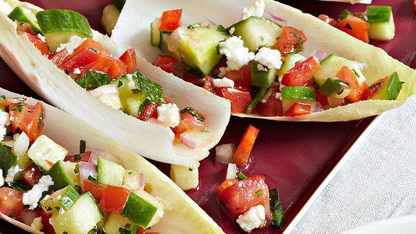 """<br><b><a href=""""http://www.oprah.com/food/Mini-Greek-Salad-Boats-Recipe"""" target=""""_blank"""">Get the recipe</a></b>"""