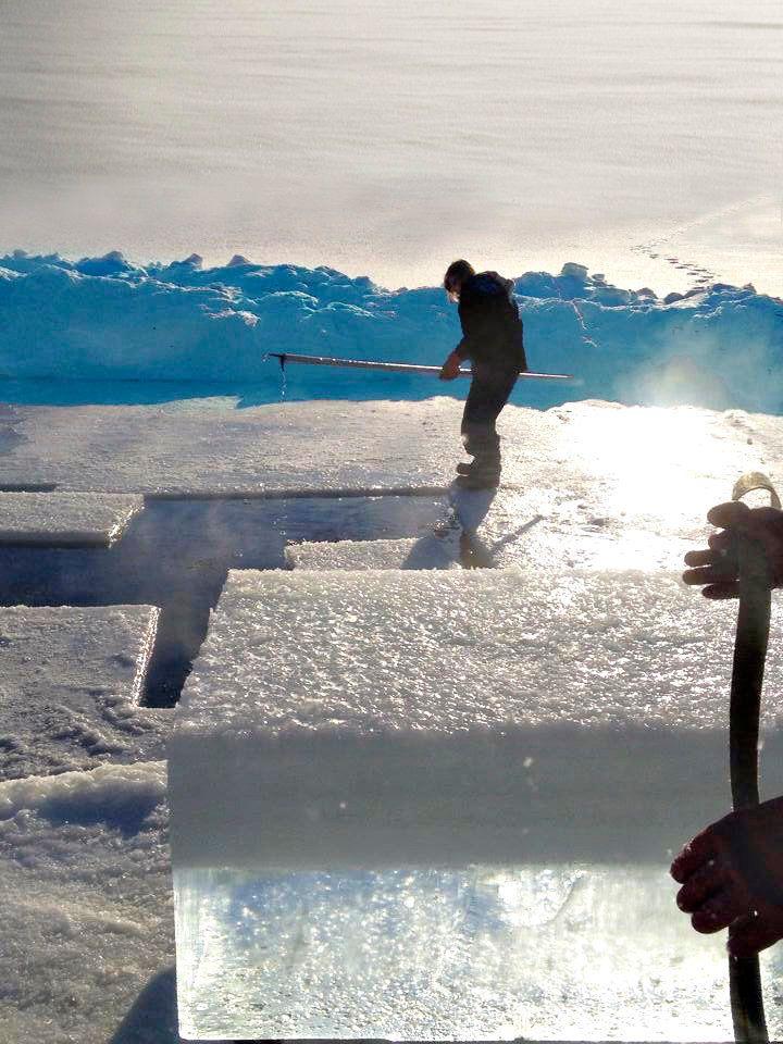 Brice's teenage daughter harvests ice last March.