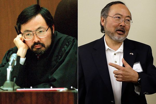 LEFT: Judge Lance Ito in 1995  RIGHT: Judge Lance Ito in 2013.