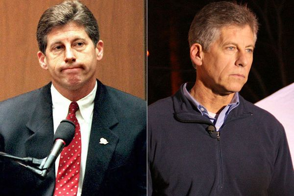 LEFT: Mark Fuhrman in 1995.  RIGHT: Mark Fuhrman in 2008.