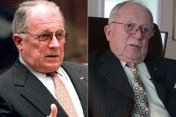 LEFT: F. Lee Bailey in 1995.  RIGHT: F. Lee Bailey in 2011.
