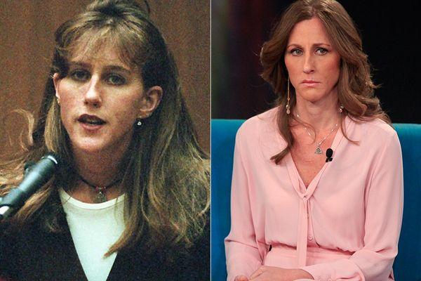 LEFT: Kim Goldman in 1995.  RIGHT: Kim Goldman in 2014.