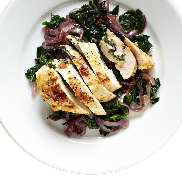 Serve juicy stuffed chicken in only an hour. <br> In a pot of boiling salted water, cook sliced Swiss chard stems 2 minutes.