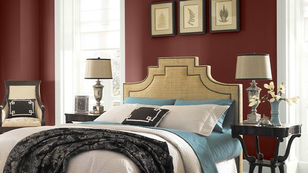 Finally, a color both of you can agree on: Marsala walls are a one-step way to make your bedroom feel more romantic, without