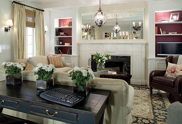 Painting the inside of your bookshelves a dark color can make them look like they extend much farther back than they do, espe