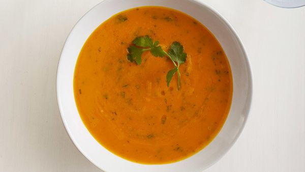 If you're craving something sweet but are trying to avoid sugar, this high-fiber sweet-potato soup is the answer. You roast t