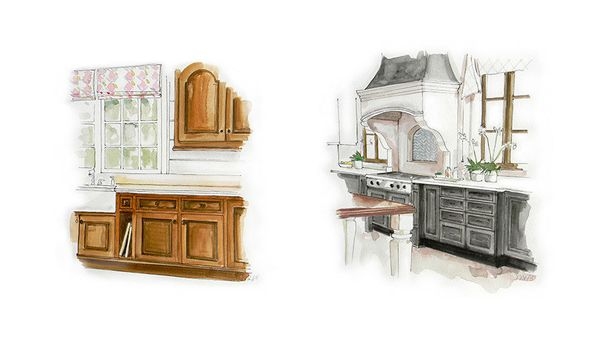 Maple and oak wood-stained cabinets (especially those with ornate, French-ish carvings) instantly age a kitchen, but thankful