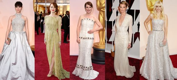 """Gowns covered in 3-D appliques, glitter, sequins, and beads made bold statements on the Oscars red carpet with <a href=""""http:"""