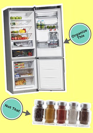 <strong>Organize This: The refrigerator. </strong> <br>A neat fridge is not just more sanitary (storing meats in the bottom s