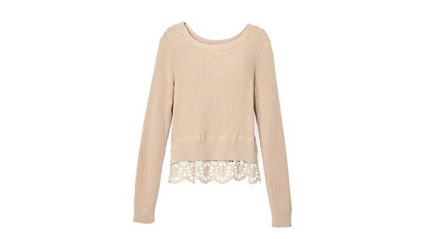 "Available at: Ann Taylor, $89, <a href=""http://www.anntaylor.com/tiered-lace-sweater/365283?colorExplode=false&skuId=18407457"