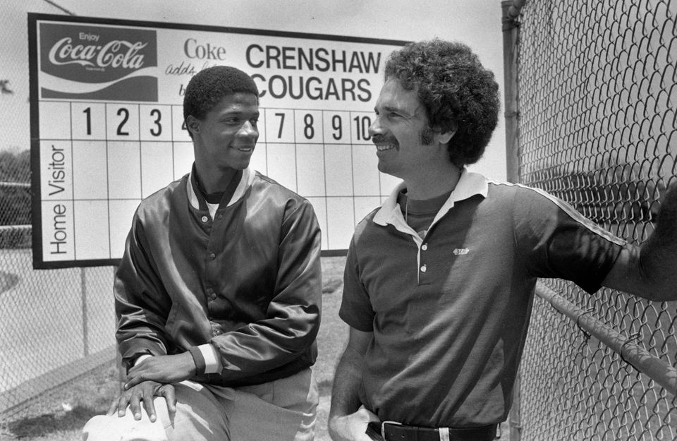 Darryl Strawberry is shown with his coach Brooks Hurst at Crenshaw High School in Los Angeles, June 4, 1980.