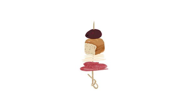 "1 slice salami, folded  <br>          +  <br> 1/2 slice provolone, torn into pieces  <br>           +  <br> 1"" piece focaccia"
