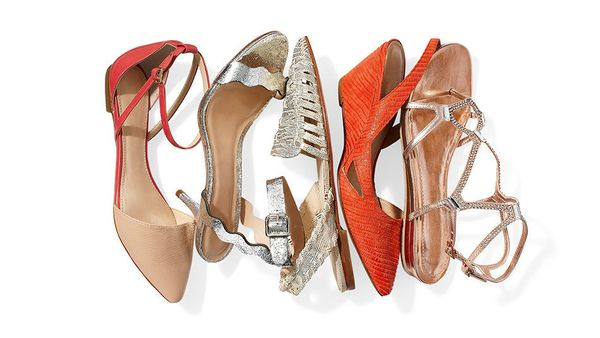 <strong>A:</strong> Sexy doesn't have to mean a high heel. Pointy flats with toe cleavage, bejeweled sandals, slim wedges and