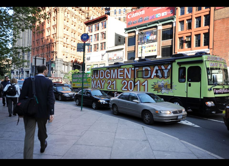 An 'end of days' bus can be seen by city hall in New York city on May 12, 2011. A religious group who follows the teachings o