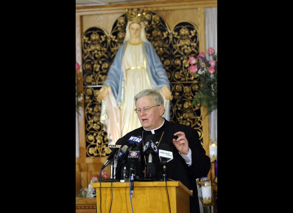 Bishop of the Diocese of Green Bay Rev. David Ricken fields questions about the official pronouncement to officially approve