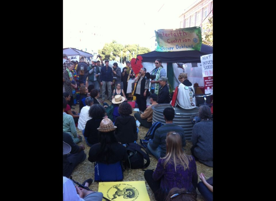 The interfaith group at Occupy Oakland leading a service before they were arrested...