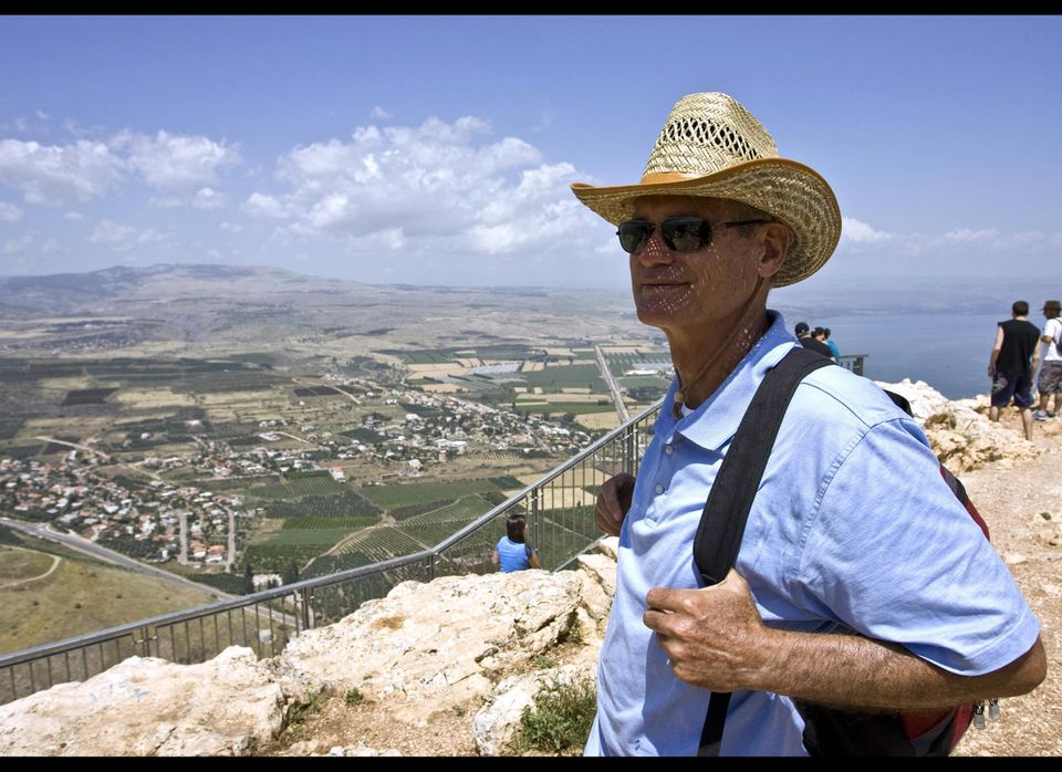 US hiker Daniel Ray stands on top of Mount Arbel in the Lower Galilee near the city of Tiberias on April 25, 2009. A 65-kilom