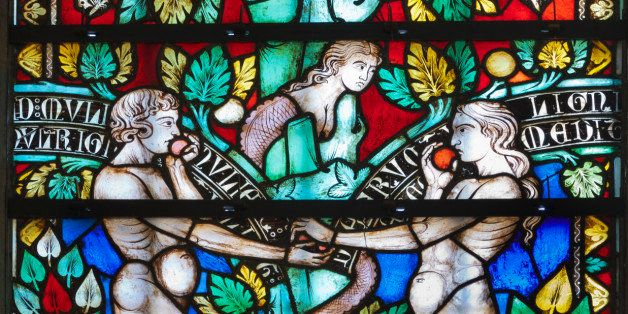 'Biblical scene of Adam and Eve in the Paradise (Cathedral of St. Michel.Carcassonne,France)'