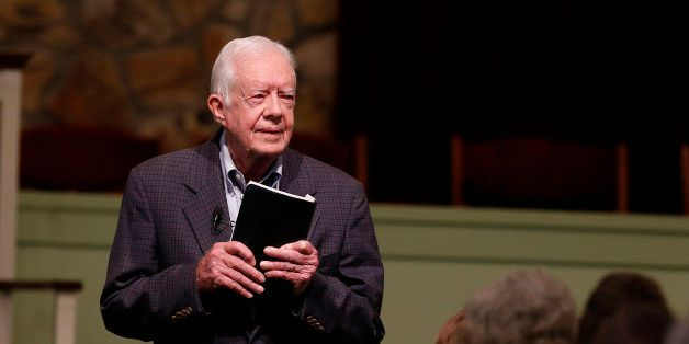 Former President Jimmy Carter teaches sunday school at Maranatha Baptist Church in Plains, Ga, Sunday, June 8, 2014.   (AP Ph