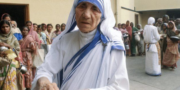 INDIA - DECEMBER 05: Mother Teresa of Calcutta (Mother Theresa) at her mission to aid poor, starving and suffering people in
