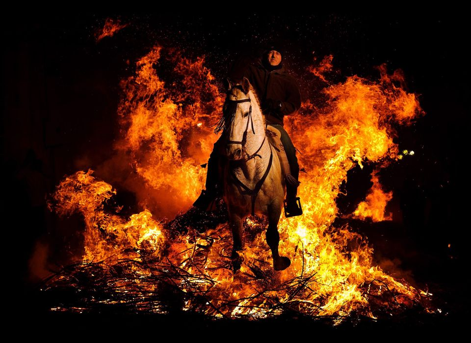 A man rides a horse through a bonfire in San Bartolome de Pinares, Spain, Monday, Jan. 16, 2012, in honor of Saint Anthony, t