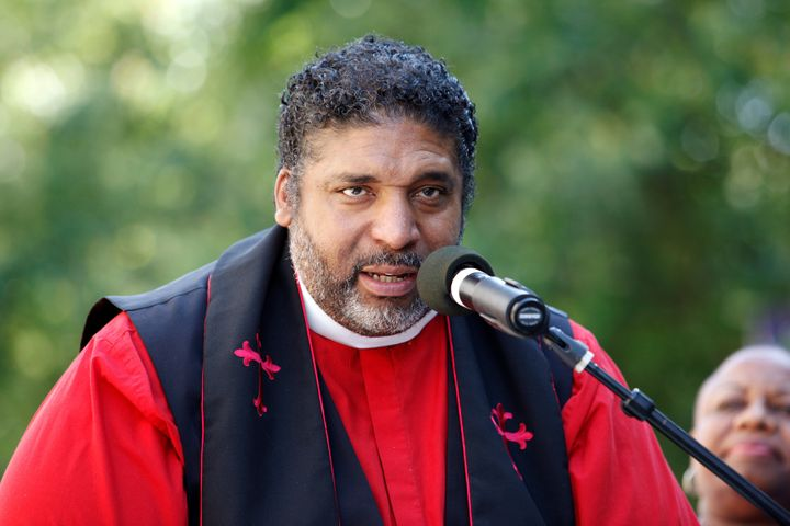 """The Rev. William Barber II speaks out against North Carolina's """"bathroom law,"""" which kept trans people from using the bathroom of their choice, outside the state legislature in Raleigh, North Carolina, in May 2016. The law was repealed in 2017."""