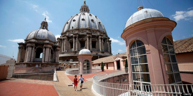 Tourists descend from the roof of St. Peter's Basilica in Vatican City, on Thursday, July 5, 2012. The Vatican Bank has incre