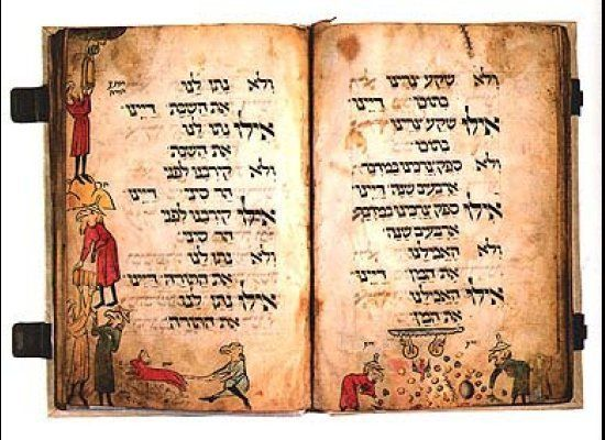 "The earliest known illustrated Ashkenazi Haggadah, the <a href=""http://jhom.com/topics/birds/haggadah.htm"" target=""_hplink"">B"