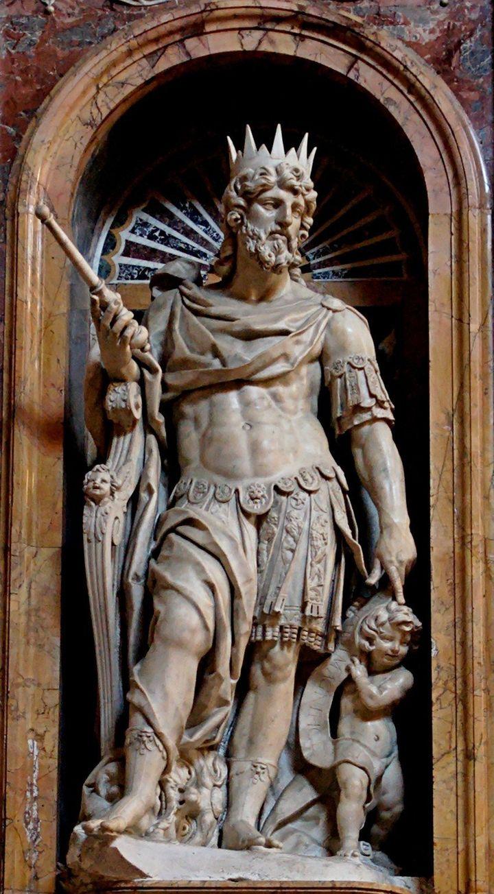Description Statue of King David by Nicolas Cordier in the Borghese Chapel of the Basilica di Santa Maria Maggiore . Statue d