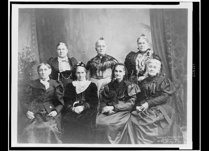 Seven of the wives of Brigham Young. Zina Huntington, mentioned in the piece, is front row, second from left.