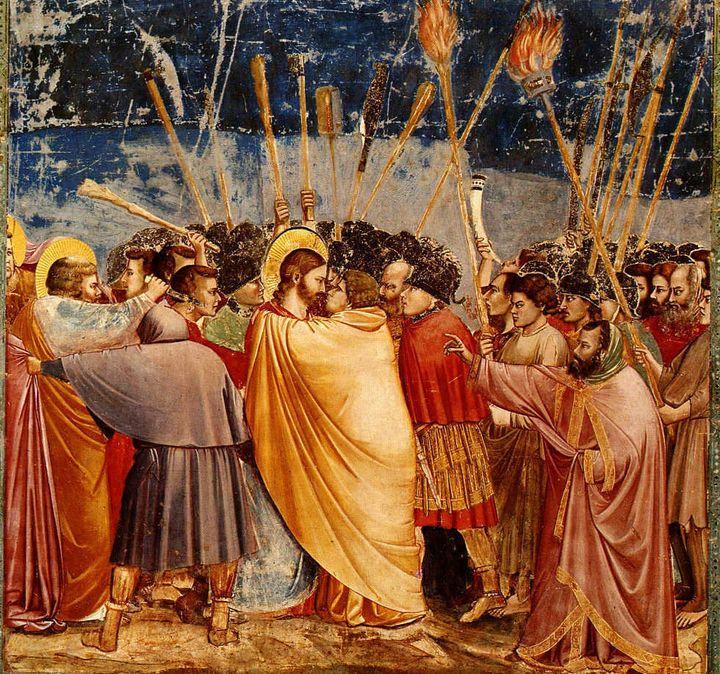 Description Judas küsst Jesus (Fresko in der Capella degli Scrovegni, Padua, 1304-1306) | Source http://history. hanover. edu