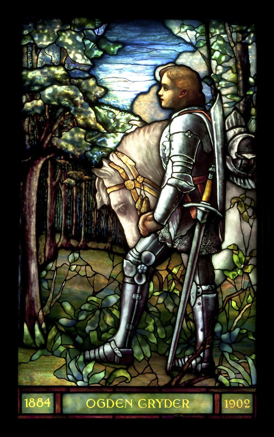 Tiffany Studios, New York Sir Galahad, Cryder Memorial Window, Before 1910 Leaded glass, 45 x 27 1/4 inches.  St. Andrew's Du